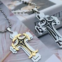 Mode Herren Kreuz Gebet aus Englischem und Halo Ring Anhänger Halskette  ddd