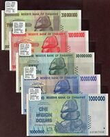 "Zimbabwe ""$100-Trillion Series"" (2008) 3MQ 5-Pc UNC Notes {pakimProPAK} VA184a.4"