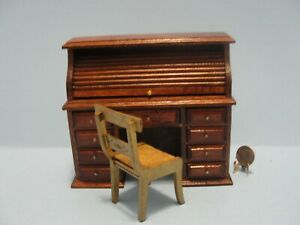 Dollhouse wood roll top desk and chair 1:12th