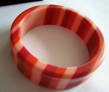 Bright and Cheerful Strawberry Cherry & Melon Striped Lucite Bangle Bracelet