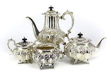 4pc Sheffield Silverplate Tea & Coffee Service Set c1900 Foliate Scroll Design
