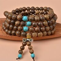 8mm Sandalwood Buddha Buddhist Meditation 108 Prayer Bead Mala Necklace Bracelet