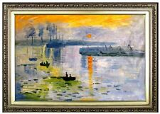 Framed Claude Monet Impression Sunrise Repro Hand Painted Oil Painting 24x36in