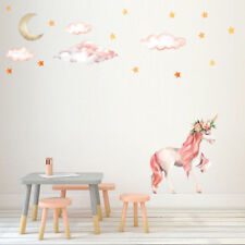 Fairy Pink Unicorn Trendy Wall Stickers Decals PVC Vintage Home Girl Room Decor