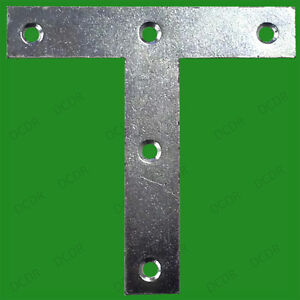 """25x 100mm (4"""") Tee Plates T Mending Bracket Brace Attach Support Fixing Joining"""