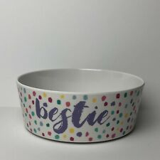 """Pet Bowl """"bestie"""" White With Colorful Polka Dots 725 ml Never Used"""
