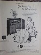 "1949 Du Mont Savoy 72"" Direct View Tv Screen Am Fm Record Player Advertisement"