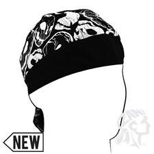 Black White Distressed Skulls Solid Black Brim Doo Rag Headwrap Biker Durag ATV