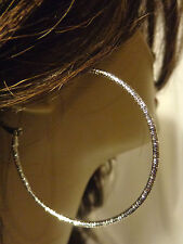 SHINY FROSTED TEXTURE SIMPLE HOOP EARRINGS 2.25 INCH HOOPS GOLD OR SILVER TONE