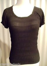 NWT August Stretch Silk Knits Black Small Short Sleeve Casual Shirt Top