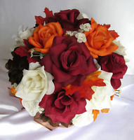 Bridal Bouquets wedding silk flowers 21 pc package FALL BROWN ORANGE BURGUNDY