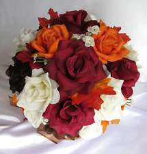 21pc Bridal Bouquet wedding silk flowers FALL BROWN ORANGE BURGUNDY IVORY