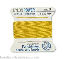 Puissance de nylon jaune fil soyeux 0,80 mm stringing perles & perles Griffin 8