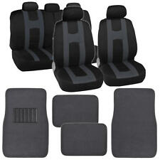 "Seat Cover for Car ""Rome Sport"" Racing Style  Black/Charcoal with Carpet Mats"
