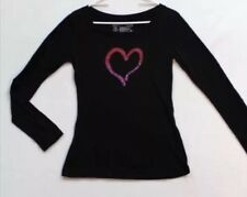 L.O.L. Vintage Black Long Sleeve  Tee Shirt Top Pink Heart Size XS NWOT V-Day