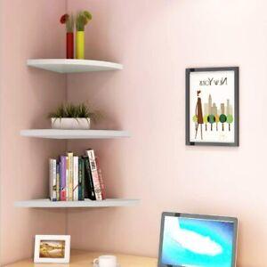 Set of 3 Floating Corner Shelf Wall Mounted Display Shelves Storage Modern White