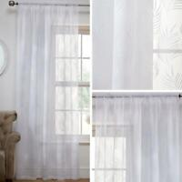 White Voile Curtain Panels Fern Tropical Leaf Flocked Slot Top Rod Pocket Voiles