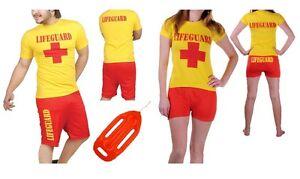 Lifeguard Costume Hen Stag Fancy Dress party Men women Yellow shirt red Shorts