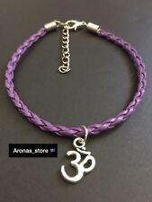 New Purple Tibetan Silver Aum Ohm Om Charm Braided Bracelet 19cm