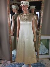 Trimingham's Bermuda 100% Silk Vintage Golden Maxi Gown Beads Rhinestone Accents