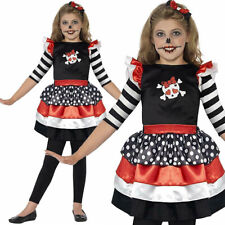 New Childs Skully Girl Day Of The Dead Sugar Skull Halloween Fancy Dress Costume