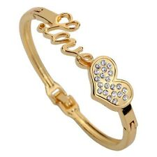 Gold Love Bracelet Cuff Heart Inlay Crystal Chain Link Bangle