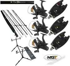 CARP FISHING SET UP 3 X 12FT CARP RODS + 3 X CARP REELS + 3 X BITE ALARMS + POD