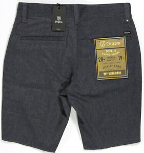 BRIXTON Toil II raw edge stretch Chino Short- 28- NEW-navy heather - $49