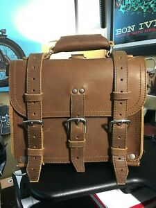 """Saddleback Leather 12"""" SMALL CLASSIC BRIEFCASE Chestnut, Suede-Lined 2-Rivet"""