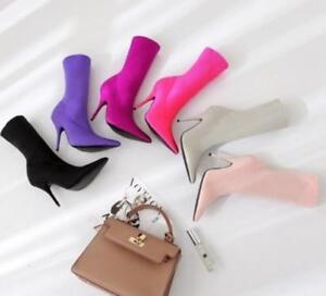 Ladies Elastic Socks Mid Calf Boots Pointed Toe Sexy Stilettos High Heels Shoes