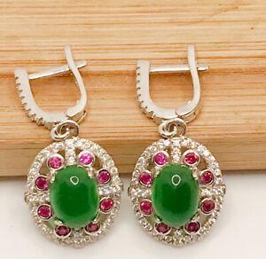 "925 Sterling Silver Emerald, Pink & White Topaz 1 1/4"" Long Earrings"
