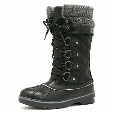Women's Winter Snow Boots Waterproof Fuax Fur Lined Warm Lace Up Mid Calf Boots