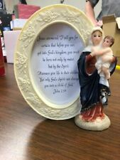 Madonna and Child Figurine Frame For Photo Display John 3:56, 6 1/4 Inch N.G.