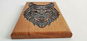 Made of Oak  Geometric Wolf Animal Wall Art Decor Hanging Decoration