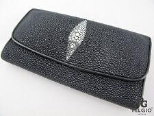 PELGIO Genuine Stingray Skin Leather Women's Trifold Clutch Wallet Purse Black