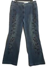 KinKai Fashion Womens Jeans Size XXL Blue Embellished Embroidered Flare Leg Pant