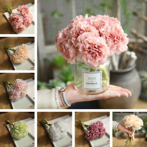 1 Bouquet Artificial Fake Peony Silk Flower Bridal Hydrangea Wedding Home Decor