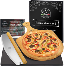 New listing NeoCasa Black Cordierite Ceramic Coated Pizza Stone Pan Set with Bamboo Pizza Pe