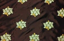 Marcovaldo Bouquets Brown Silk Taffeta Embroidered Floral Fabric By The Yard