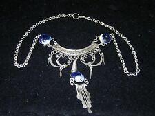 Vintage bohemian choker necklace silver tone and blue beads - extremely wearable