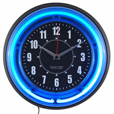 Blue Neon Wall Clock Retro Diner Style 11 Inch Diam Analog Battery Powered Qtz