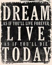 New Dream, Live, Today - James Dean Quote Fine Art Print Home Wall Decor 688708