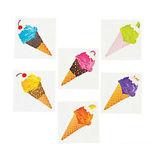 36 Assorted Ice Cream Cone Fun Kids Temporary Tattoos Party Favors #13652010