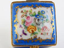 Vintage Limoges Hinged Trinket Box, Le Tallec Paris - Blue Floral