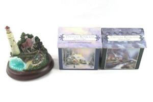 Lot of 3 Thomas Kinkade Two 100-Piece Puzzles and Lighthouse Figurine
