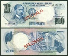 Pilipino Series SPECIMEN 1 Pesos JOSE RIZAL Marcos - Calalang  Banknote