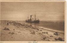 Freighter in the Suez Canal Postcard c1910