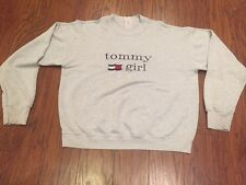 """Vintage 90s Tommy Hilfiger Gray """"Tommy Girl"""" Sweatshirt Adult L/XL AS IS see Des"""