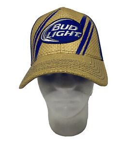 Bud Light Snapback Hat Vintage Truckers Mesh Back Woven Straw Baseball Golf Cap