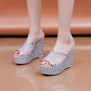 Women Fashion Sequins Platform Sandals Wedge High Heels Slippers Peep Toe Shoes